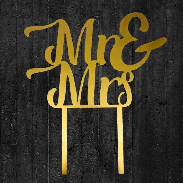 """Cake-Topper """"Mr&Mrs"""" Acryl gold"""
