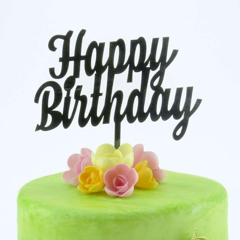 "caketopper ""happy birthday"" in schwarz  geburtstage"