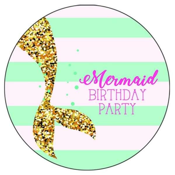 Zuckeraufleger Mermaid Birthday Party 10cm