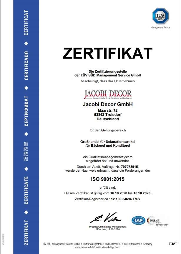 Jacobi-Decor-Iso-Zertifikat