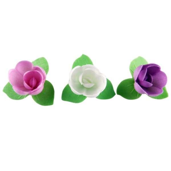 Esspapier Rose mit grünem Blätterkranz 40mm 12Stck