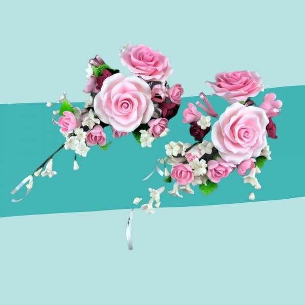 Zuckerblumenbouquet rosa Rosen Maxi Vorschaubild