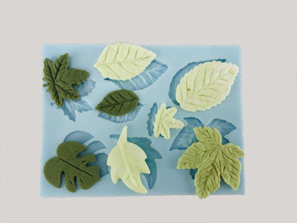 Silikonform für Fondant und Flowerpaste Blätter gemischt