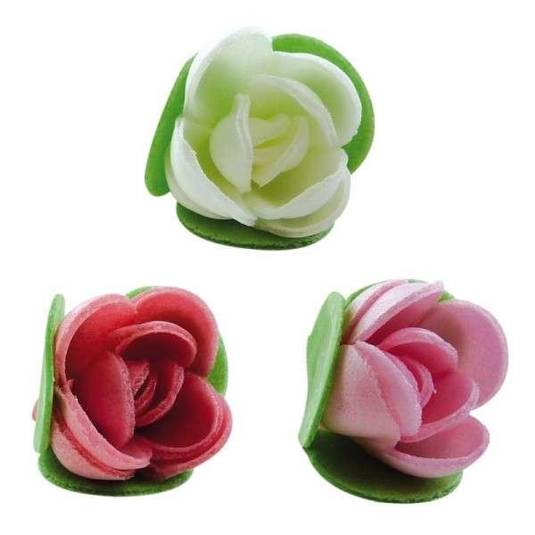 Esspapier Rose mit geschloßene Blätterkranz 30mm 12Stck