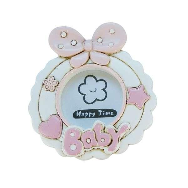 Baby-Fotorahmen mit Schleife rosa