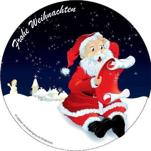 Tortenaufleger Weihnachtsmann mit Wunschzettel 10cm