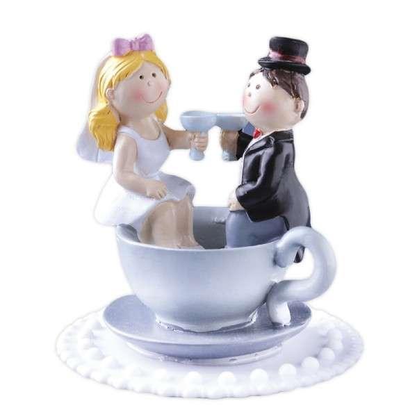 Tortendekoration Hochzeit Tortenfigur Brautpaar in Tasse