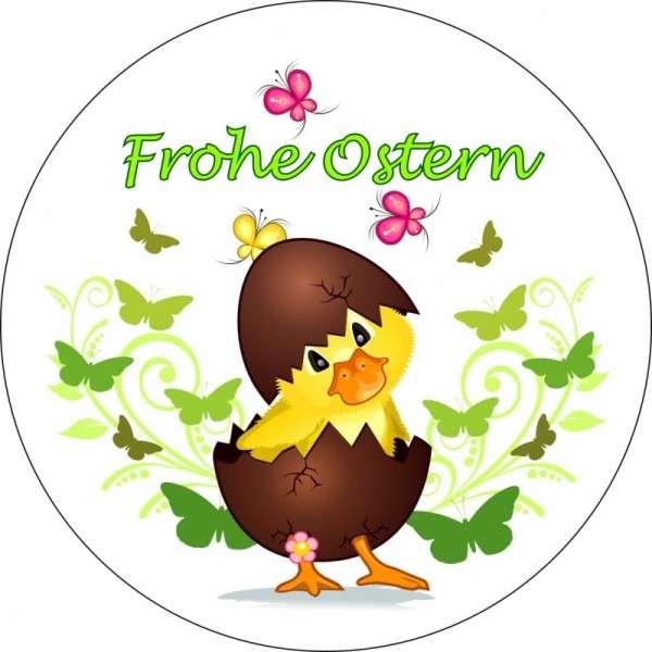 """Tortenaufleger Küken """"Frohe Ostern"""" 10cm"""