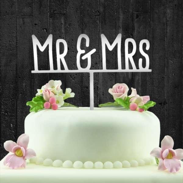 "Cake-Topper ""Mr&Mrs"" auf Linie Acryl SPIEGEL"